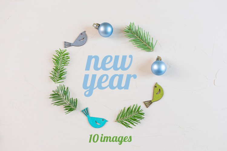 Set of 10 New Years flat lay in pastel colors