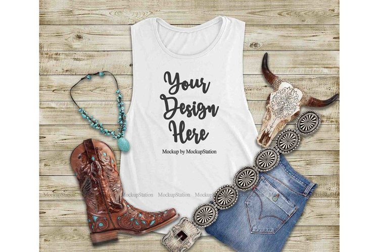 Southwest White Tank Top Mock Up, Texas Bella Canvas 8803 example image 1