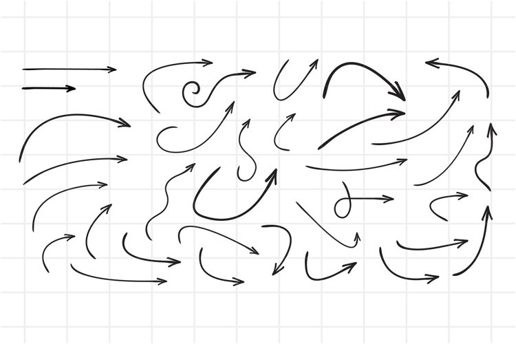 Hand drawn arrows. Set of vector curved arrows. EPS, AI. example image 1