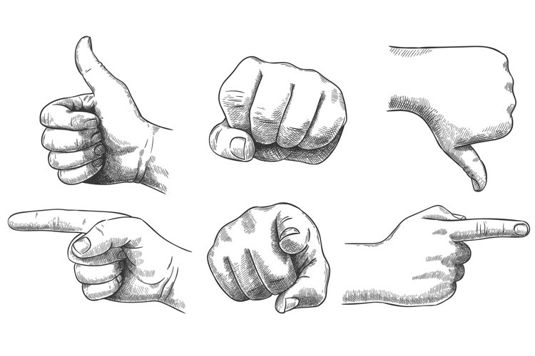 Engraved hands gesture. Hand drawn like and dislike, sketch example image 1