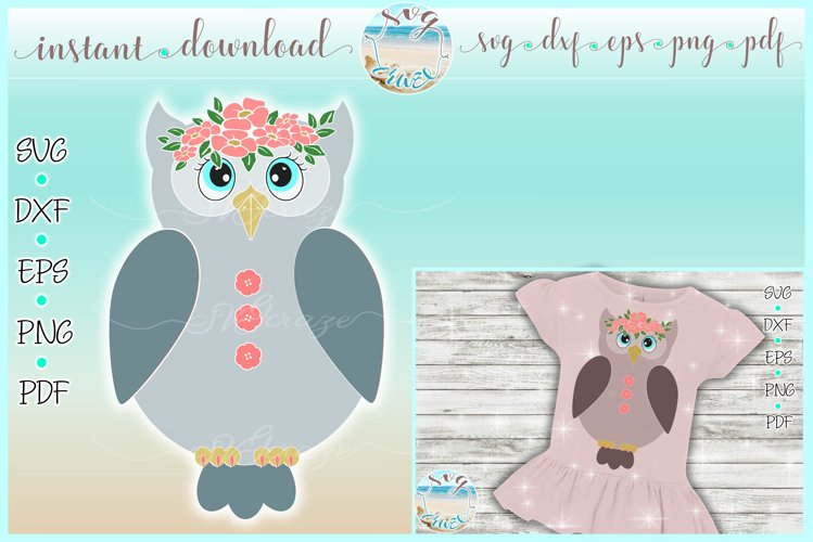 Girly Owl with Flowers SVG Dxf Eps Png PDF Files example image 1