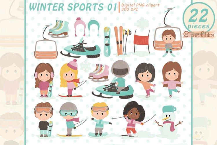 Cute WINTER SPORTS clipart set, Snowboard, Ski, Skate design