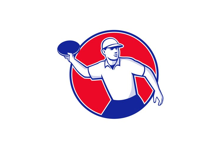 Disc Golf Player Throwing Mascot Circle example image 1