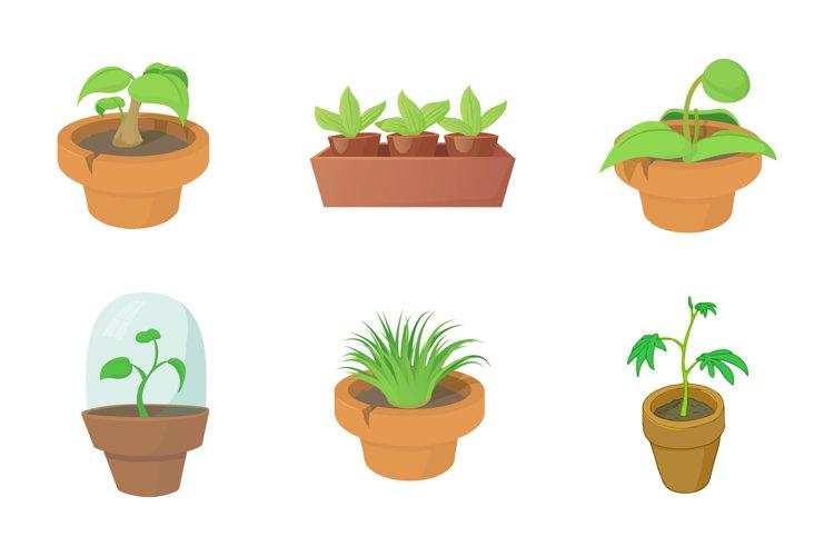 House plant icon set, cartoon style example image 1