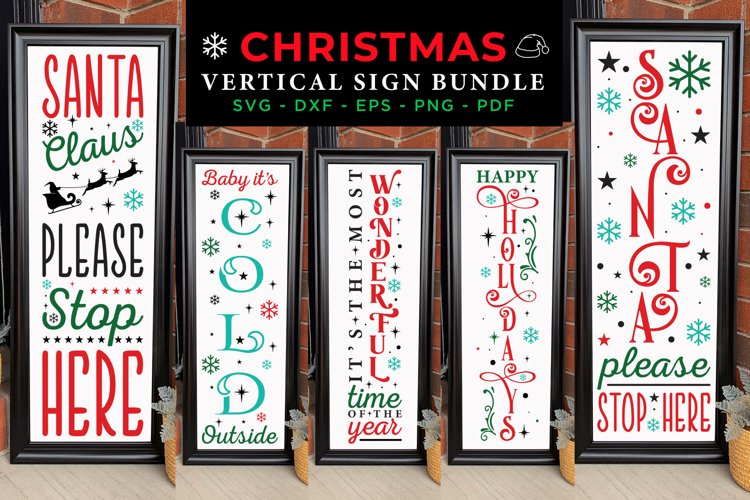 Christmas Vertical Sign Bundle SVG, Christmas Porch Sign SVG example image 1