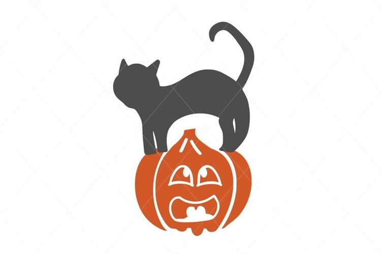 Pumpkin svg, scared pumpkin, pumpkin cut file, black cat svg example image 1