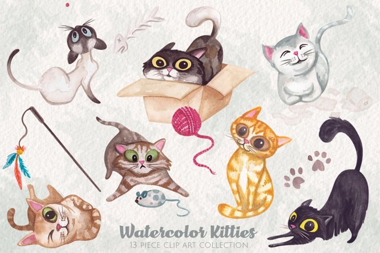 Watercolor Kitty Cats Clip Art example image 1