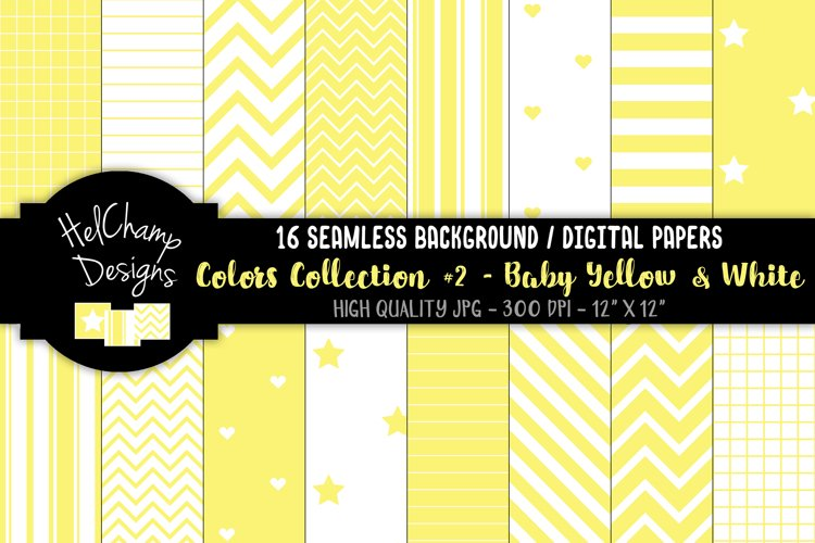 16 seamless Digital Papers - Baby Yellow and White- HC157 example image 1