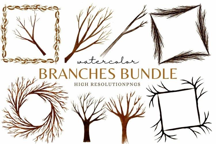 Tree Branch Frames and Wood Clip Art Bundle Sublimation