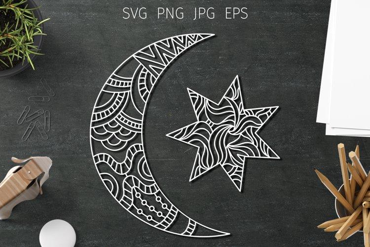 Moon svg cut files, star svg. Boho moon zentangle. Moon png. example image 1