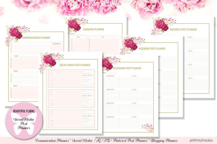 Beautiful Floral Digital Social Media Post Planner example image 1