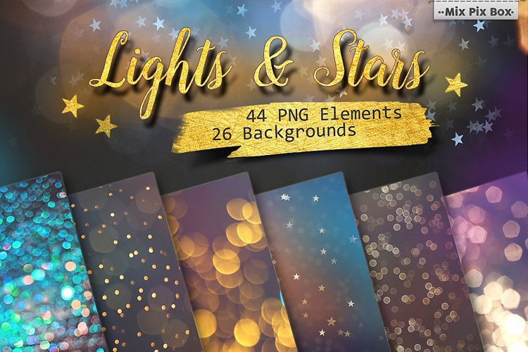 Lights & Stars Clipart + Backgrounds example image 1