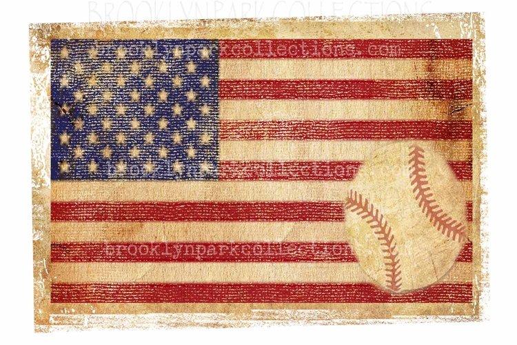Vintage American Flag, Baseball, Art Design, Sublimation PNG example image 1