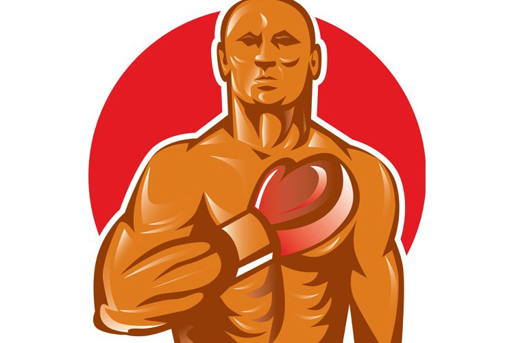 boxer with boxing gloves hand on chest example image 1