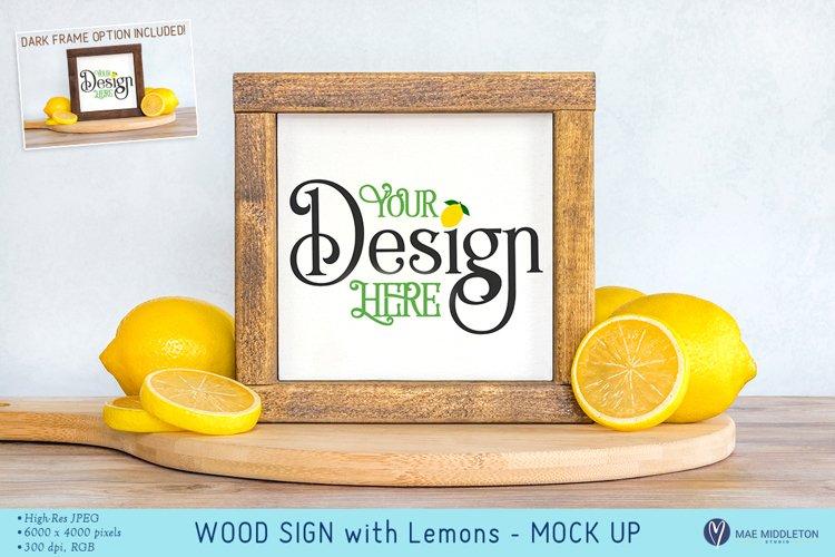 Framed Sign with Lemons - mock up, styled photo