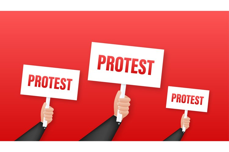 Protesters hands holding protest signs example image 1