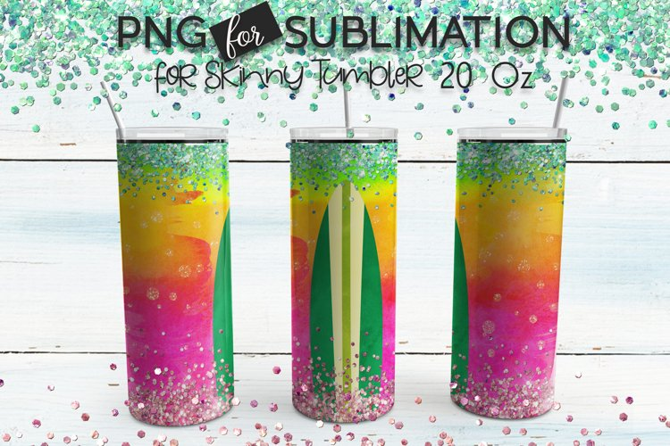 Summer skinny tumbler sublimation - Watercolor surf board