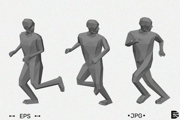 Low poly men runs looking back. 3d vector illustration. example image 1