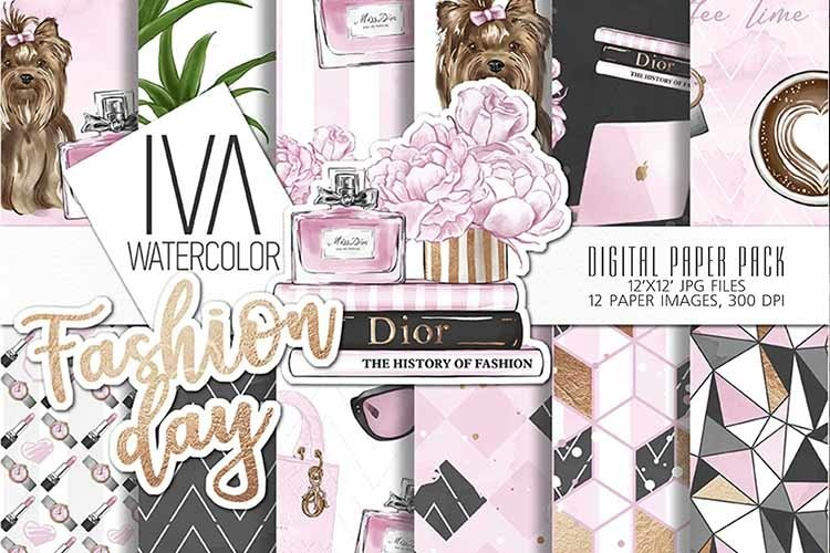 Fashion Day Digital Paper, Fashion Digital Accessories example image 1