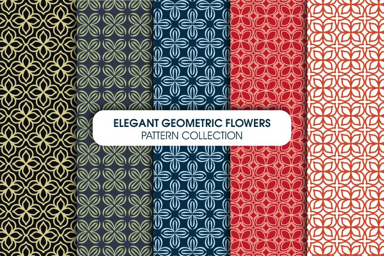 Elegant Geometric Flowers Pattern Collection example image 1