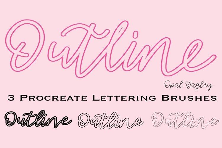 3 Outline Procreate Brushes - Mono Outline Lettering Brush example image 1