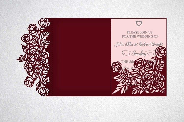 Download Tri Fold Wedding Invitation Svg Dxf Laser Cut Template 78759 Paper Cutting Design Bundles