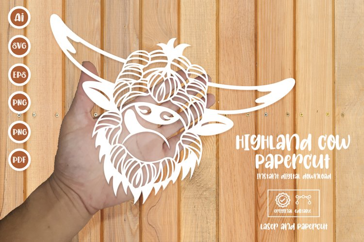 Highland Cow Paper Cut, Laser Cut SVG example image 1
