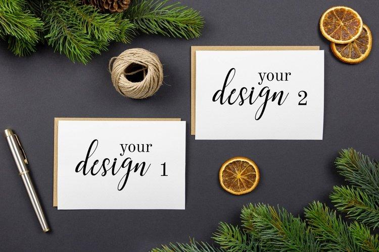 Christmas greeting cards, envelopes mockups, flat lay. PSD. example image 1