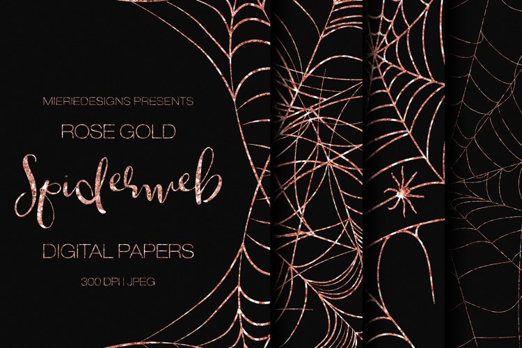 Rose Gold Glitter Halloween Spider Web Digital Paper Pattern example image 1