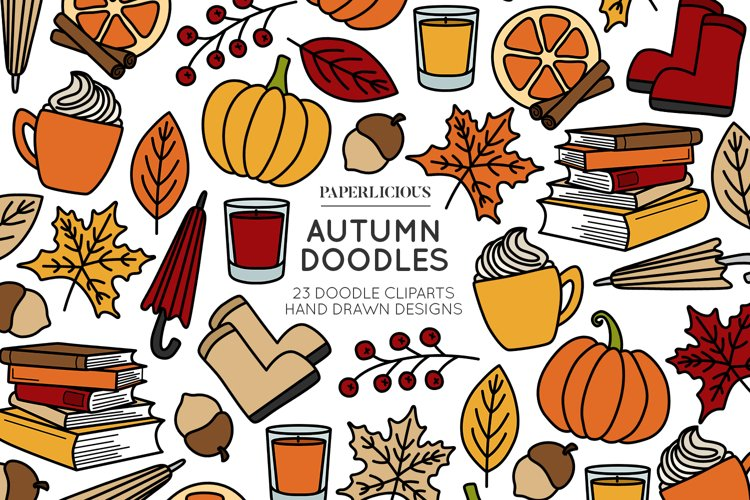 Autumn Doodle Cliparts example image 1