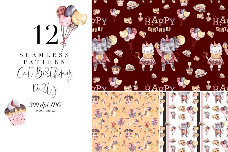 12 seamless pattern Cat Birthday Party, repeat pattern
