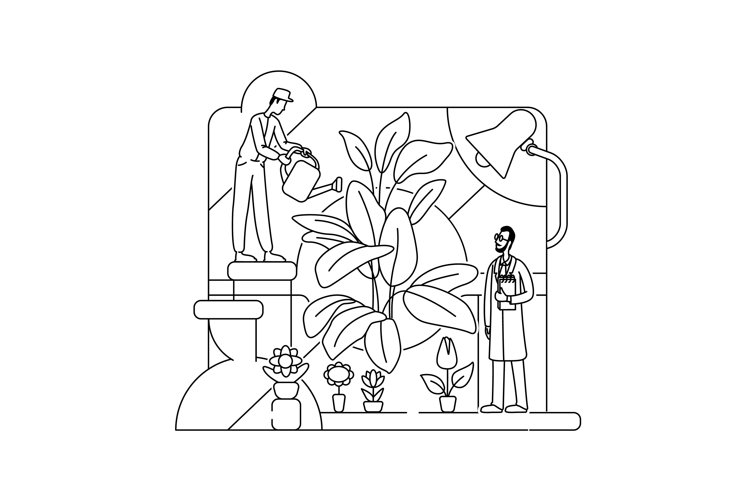 Botanical experiment thin line concept vector illustration example image 1