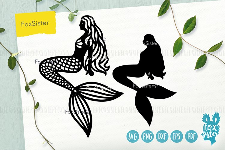 Mermaid svg, Mermaid clipart, Mermaid silhouette cut file example image 1
