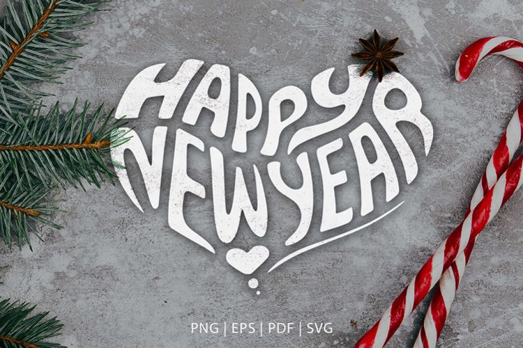 Heart-Shaped Lettering SVG, PNG, Valentine's Day & New Year example image 1