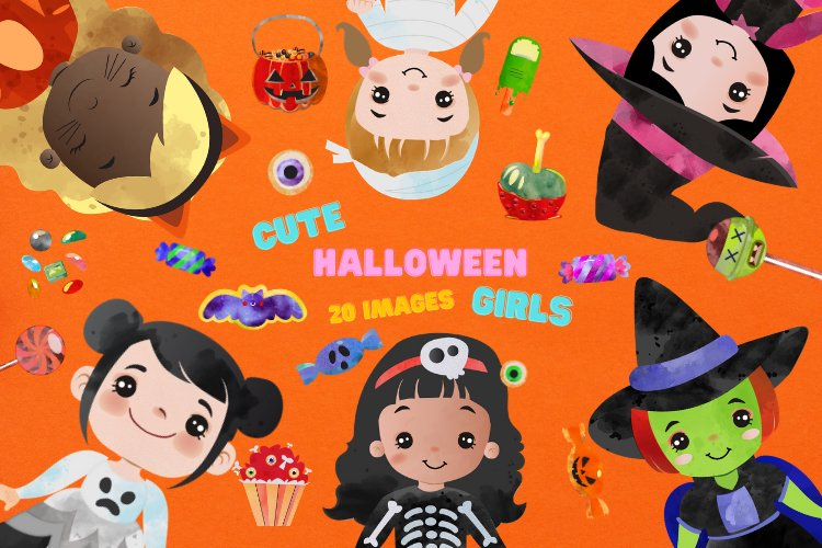 Cute Halloween Girls in Costumes Horror Party Clip Art example image 1