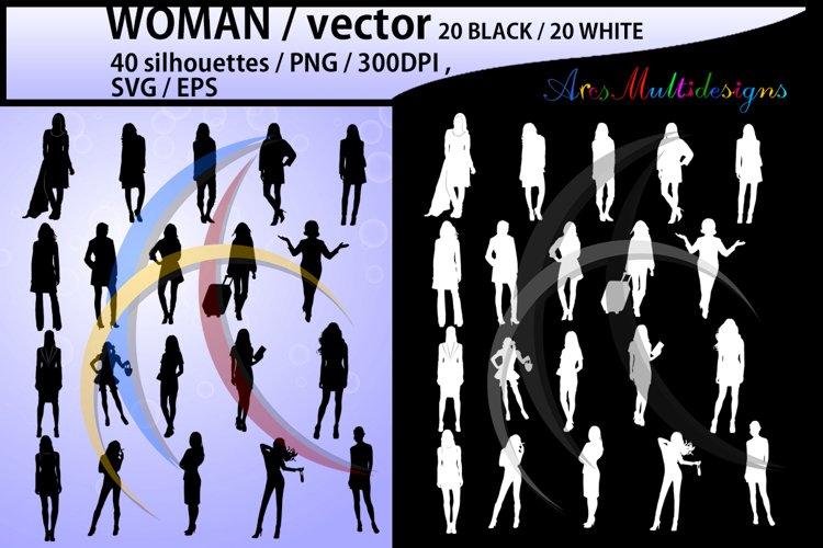 women silhouette / women svg / women clipart / printable women silhouette / standing women / 300dpi / PNG / EPS / SVG /black and white