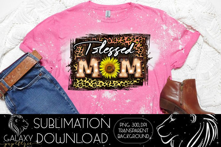 Blessed Mom Sunflower Sublimation Design PNG File example image 1