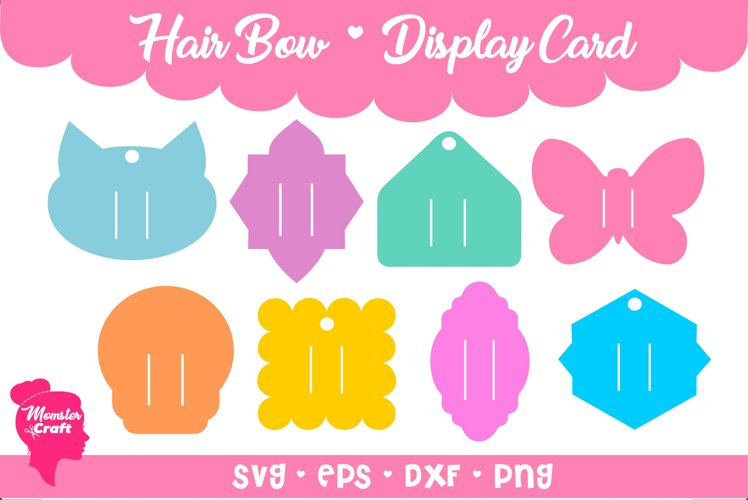 Hair Bow Clip Display Card 05 - Bundle of 8 style and 3 siz example image 1