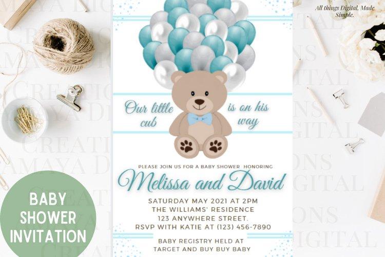Teddy Bear Baby Shower Invitation, Digital File, Instant example image 1