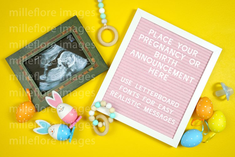 Easter Baby Birth Pregnancy Announcement Styled Stock Photo