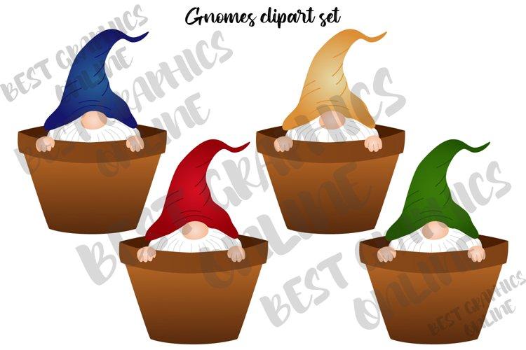 Gnomes Clipart Set, Gardening Flower Pot Gnome Clip Art