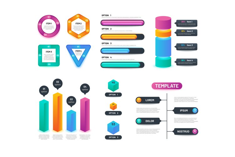 Infographic 3d template. Business charts, graphs and diagram example image 1