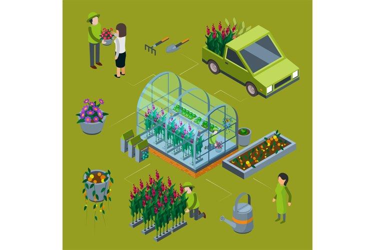 Isometric flower farm vector concept. Floristic 3D illustrat