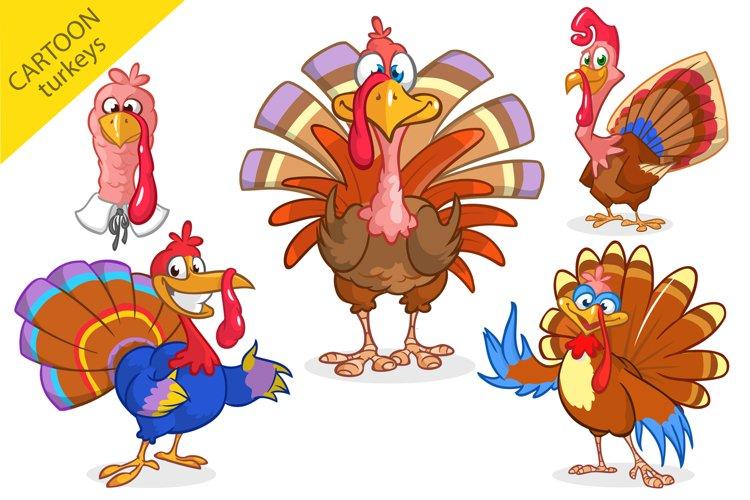 Thanksgiving Turkey Birds Cartoon Characters Set