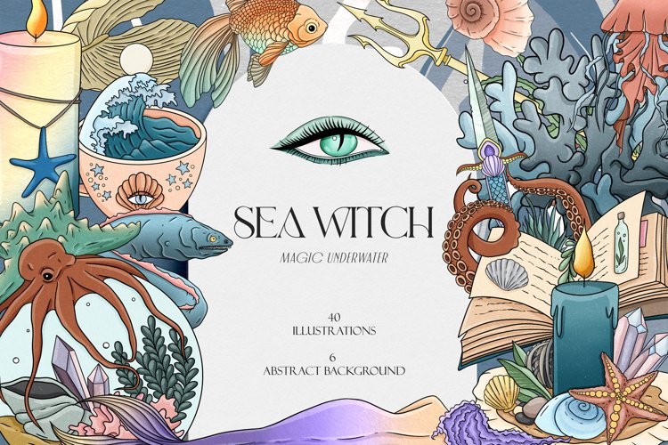 Sea Witch Clipart, Mermaid clipart, Ocean witch clipart