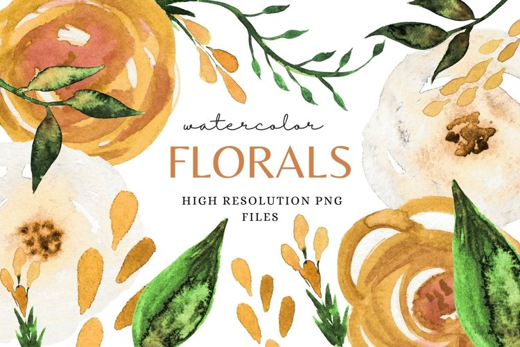 Florals in Mustard Yellow Clip Art Set Spring Sublimation example image 1