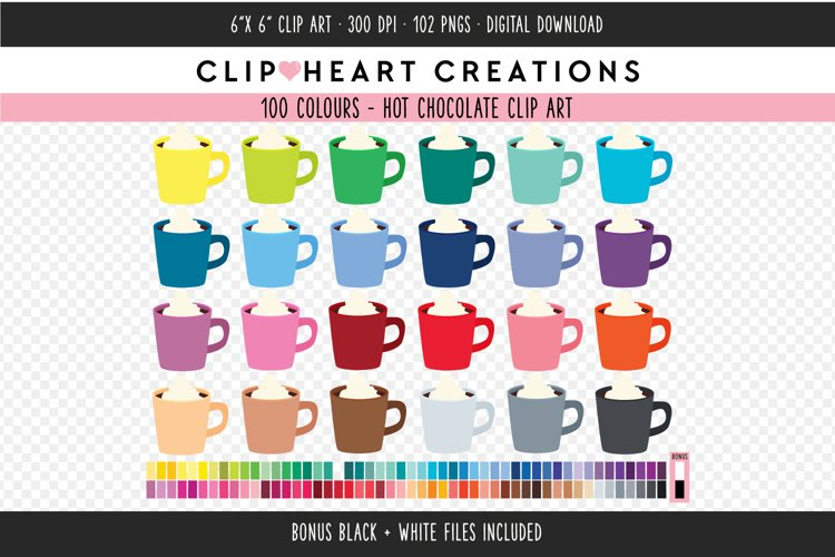 Hot Chocolate Clipart - 100 Colours