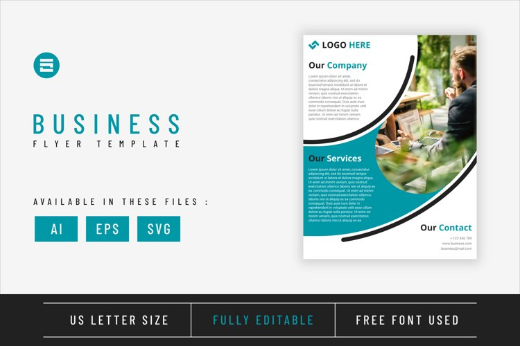 Business flyer template with cyan blue geometry shapes