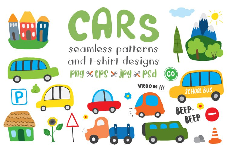 Cute Cars Collection, Cartoon transport illustrations