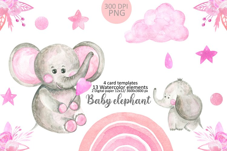 Mom and Baby elephant clipart. Watercolor cute animals example image 1